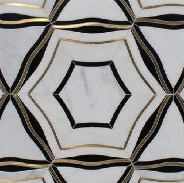 Luxe Geometric Waterjet Mosaic Tile in Calacatta, Nero Black Marble, Brushed Gold Metal