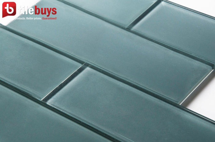 "Blue Block Glass 4x12"" Subway Tile in Cerulean - TileBuys"