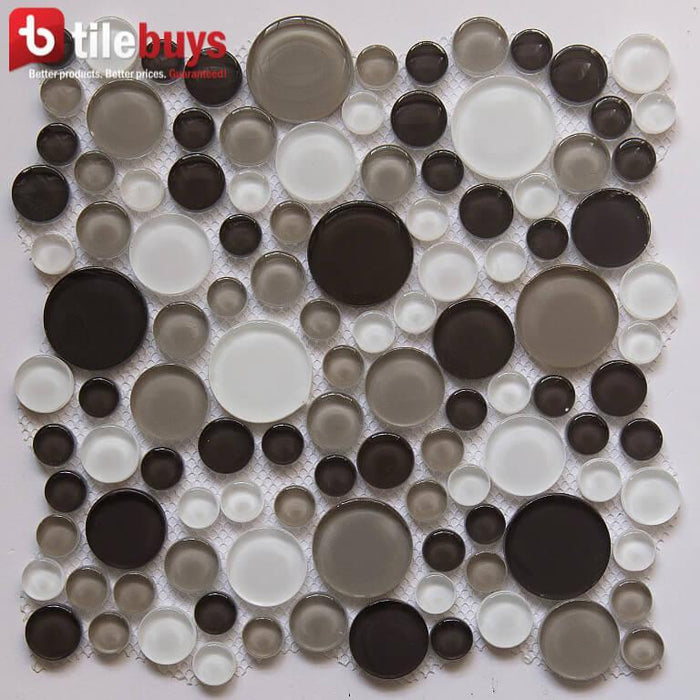 Brown, Beige & Off-White Glass Mosaic Penny Circle Round Tile - TileBuys