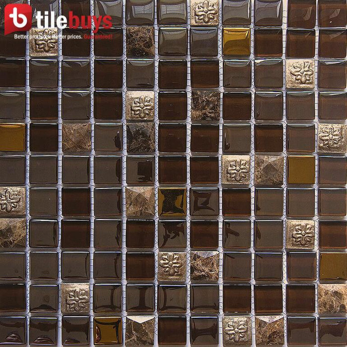 "Brown Stone & Bronze Glass 1x1"" Square Mosaic Wall Tile - TileBuys"