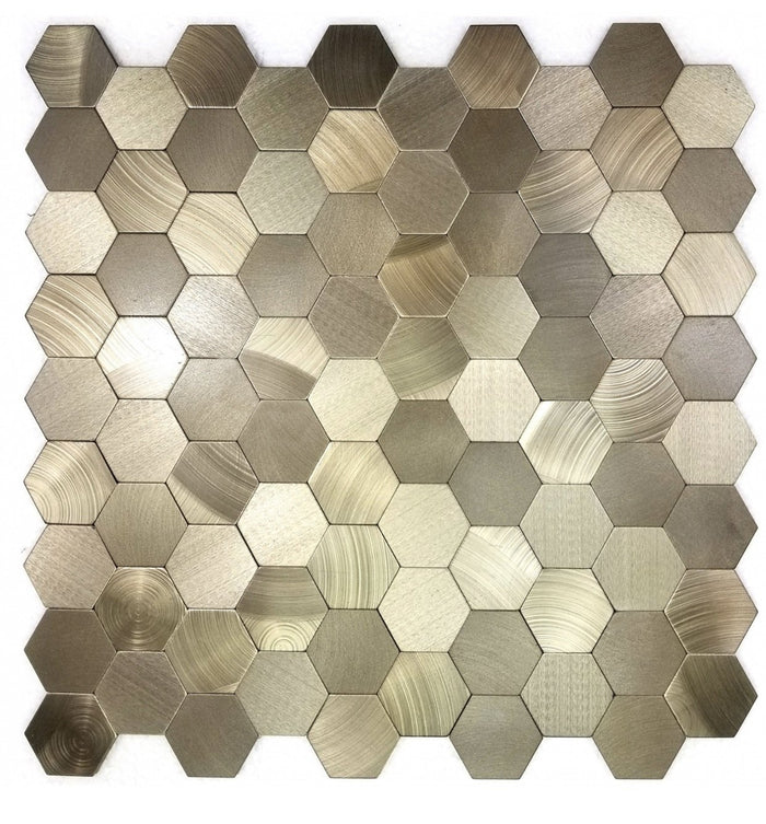Brushed Bronze Aluminum Hexagon Backsplash Tile - TileBuys