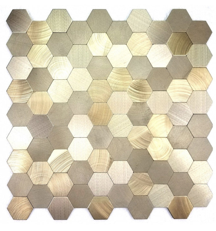 Brushed Gold Aluminum Hexagon Backsplash Tile - TileBuys