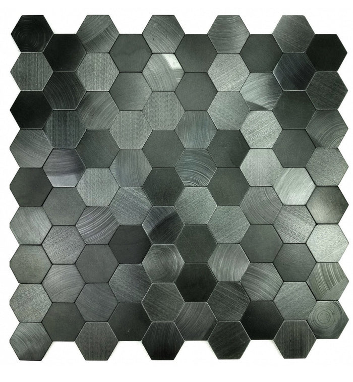 Brushed Gray Aluminum Hexagon Backsplash Tile - TileBuys
