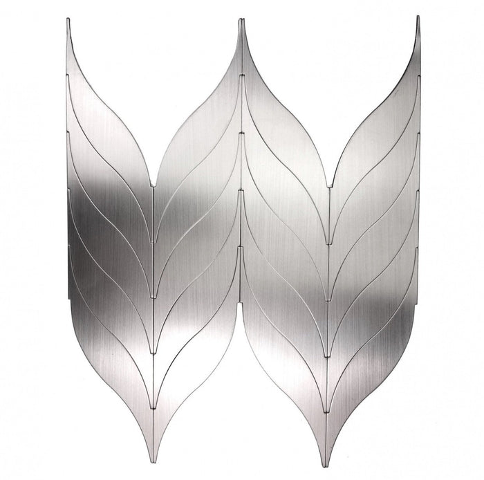 Brushed Silver Aluminum Angel Wings Backsplash Tile in Synergy - TileBuys