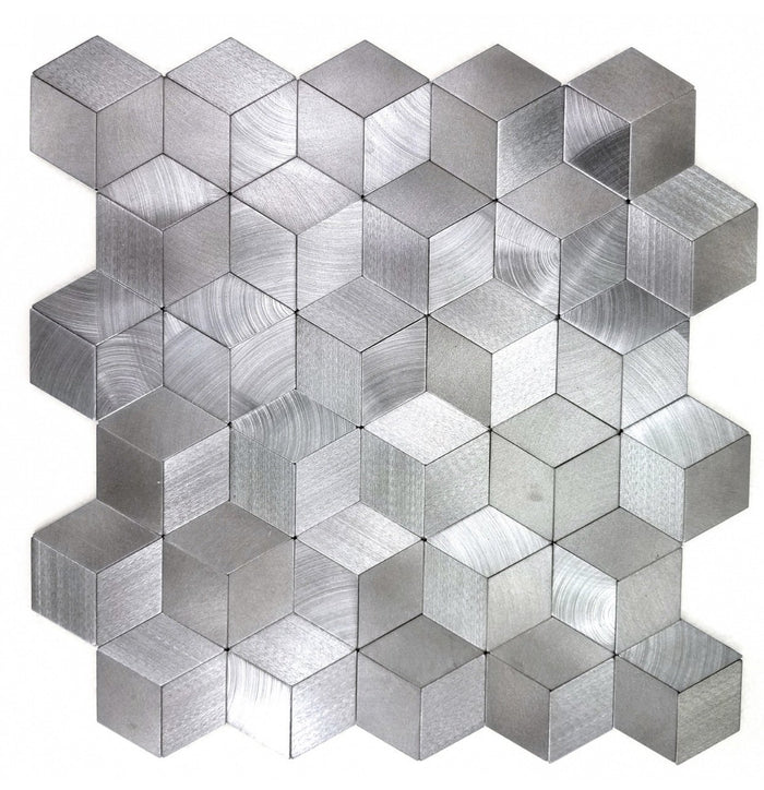 Brushed Silver Aluminum Diamond Hexagon Backsplash Tile - TileBuys