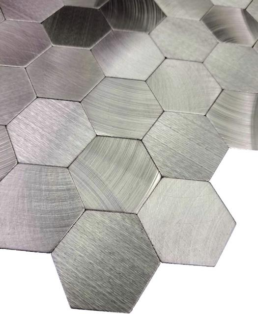 Brushed Silver Aluminum Hexagon Backsplash Tile - TileBuys
