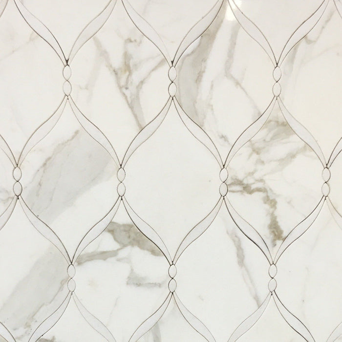 Calacatta (Calcutta) Gold and White Thassos Marble Waterjet Mosaic Tile in Braided Ribbons - TileBuys