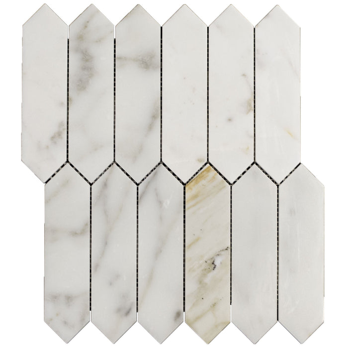 Calacatta (Calcutta) Gold Marble Mosaic Tile in Elongated Hexagons - Polished - TileBuys