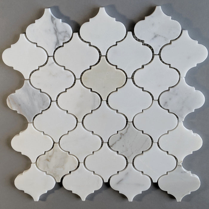 "Calacatta (Calcutta) Gold Marble Waterjet Mosaic Tile in 3"" Arabesque Lanterns - TileBuys"