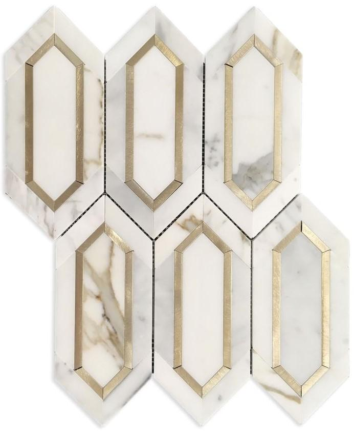 Calacatta (Calcutta) Gold Marble with Gold Metal Waterjet Mosaic Tile in Elongated Hexagons - TileBuys