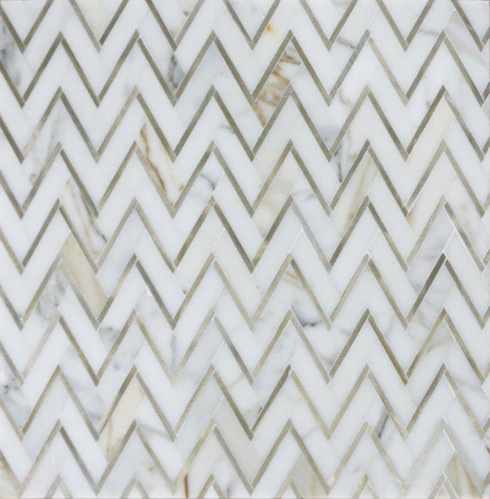Calacatta (Calcutta) Gold Marble with Gold Metal Waterjet Mosaic Tile in Golden Chevron - TileBuys