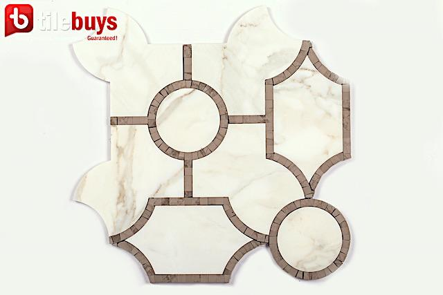 Calacatta Gold Marble and Athens Brown Waterjet Mosaic Tile in Sinuous - TileBuys