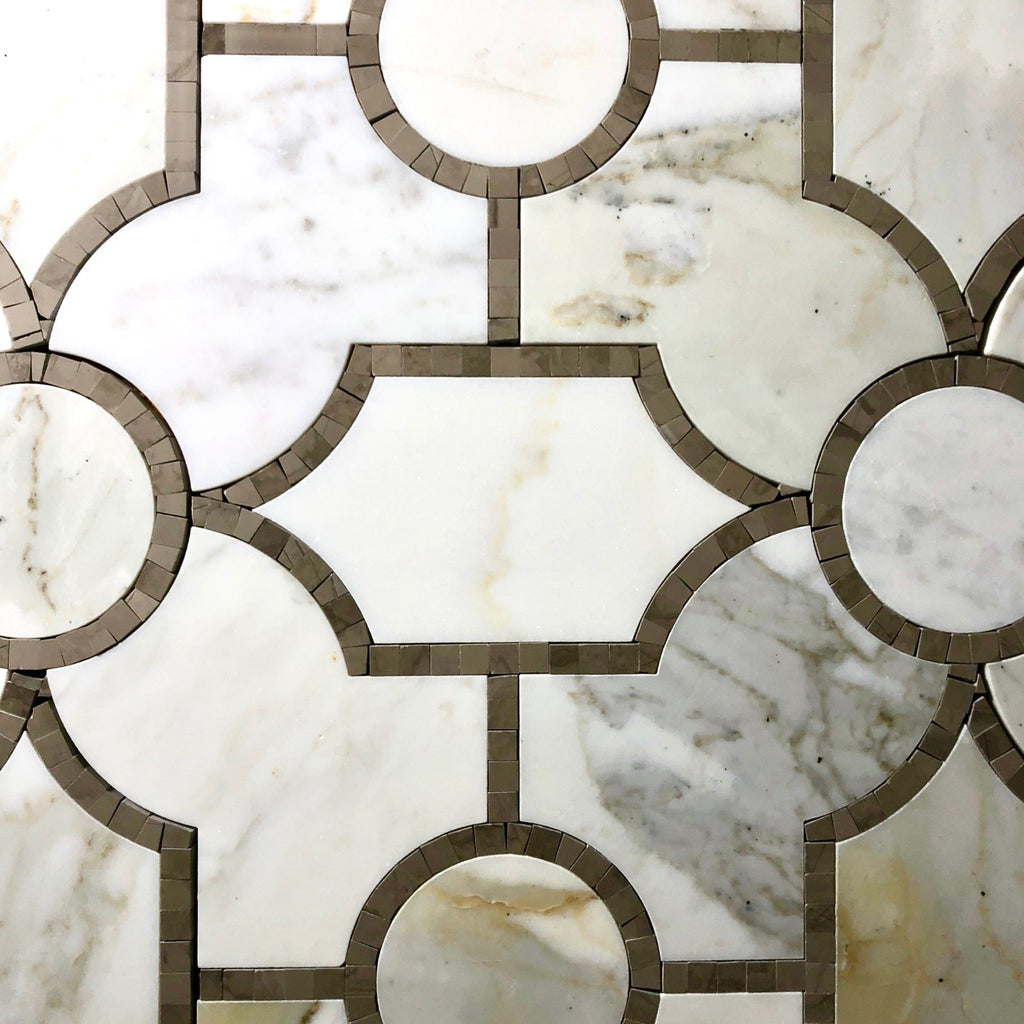 Calacatta Gold Marble And Athens Brown Waterjet Mosaic Tile In Sinuous