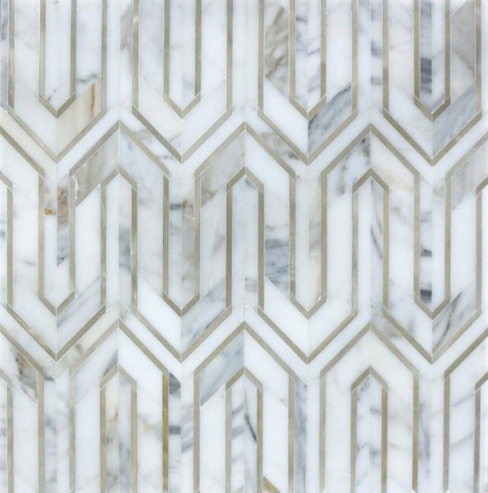 Calacatta Gold Marble and Gold Metal Waterjet Mosaic Tile in Greek Key Meandros - TileBuys