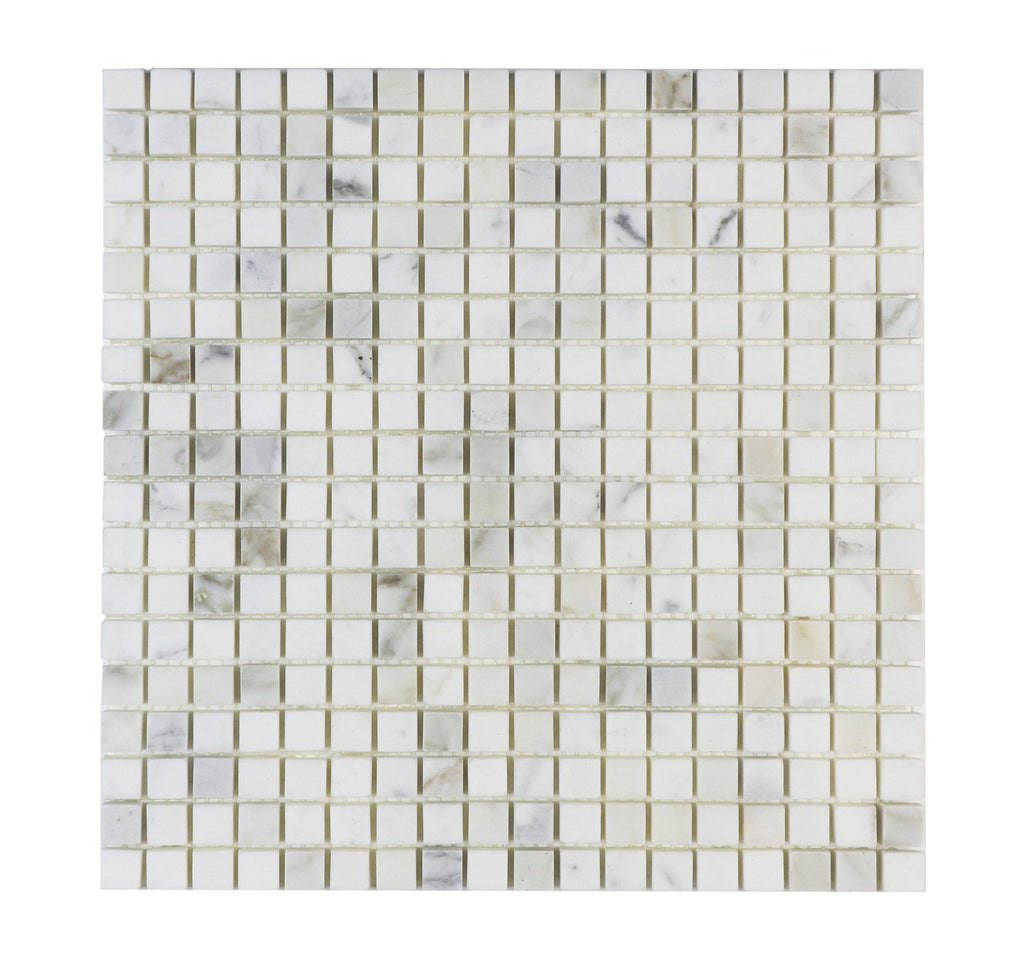 "Calacatta Gold Marble Mosaic Tile - 5/8"" Squares - Polished - TileBuys"