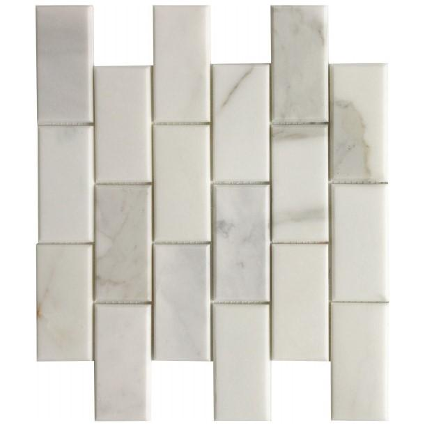"Calacatta Gold Marble Mosaic Tile in 2x4"" Mini Beveled Brick Subway Tiles Pattern - Polished - TileBuys"