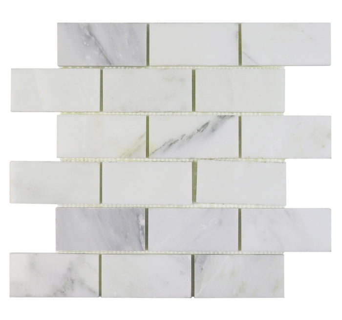 "Calacatta Gold Marble Mosaic Tile in 2x4"" Mini Brick Subway Tiles Pattern - Polished - TileBuys"