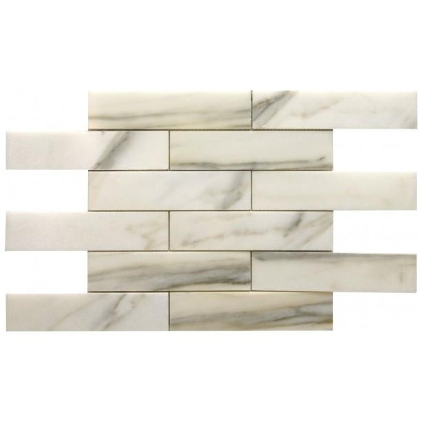 "Calacatta Gold Marble Mosaic Tile in 2x8"" Long Brick Subway Tiles Pattern - Polished - TileBuys"