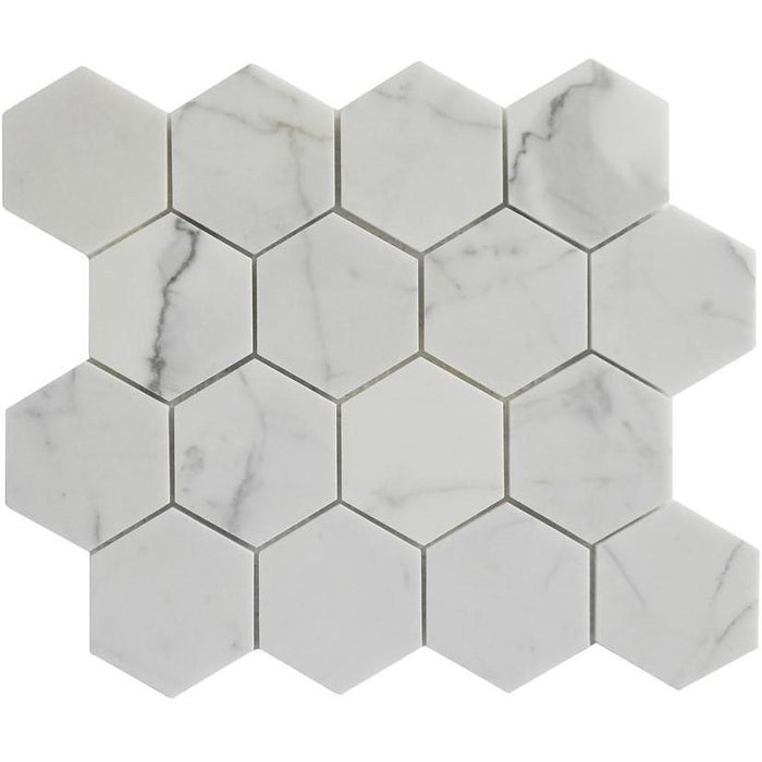 "Calacatta Gold Marble Mosaic Tile in 3"" Hexagons Pattern - Polished - TileBuys"