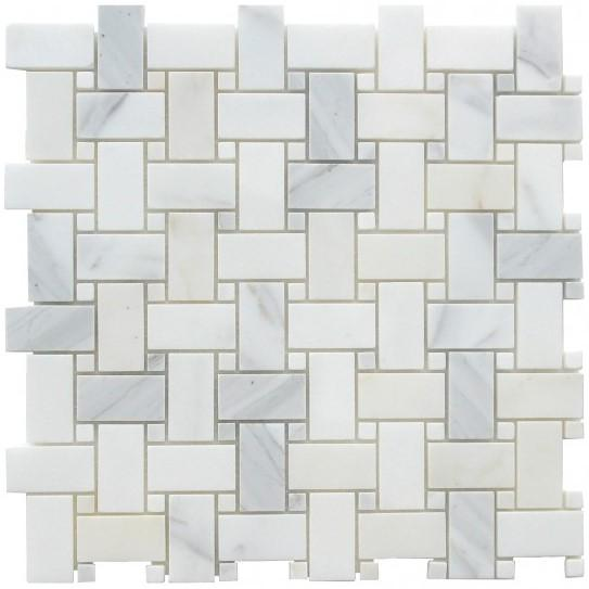 Calacatta Gold Marble Mosaic Tile in Basketweave Pattern - Polished - TileBuys