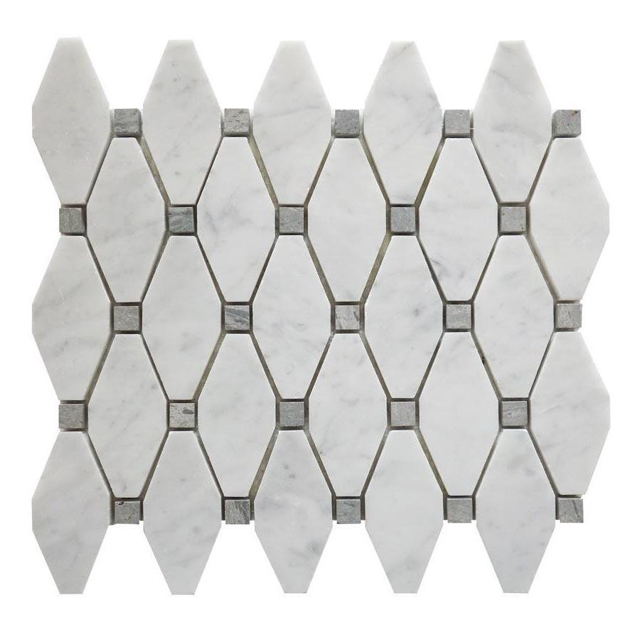 Carrara Bianco and Grey Marble Mosaic Tile - Elongated Octagons - Polished - TileBuys