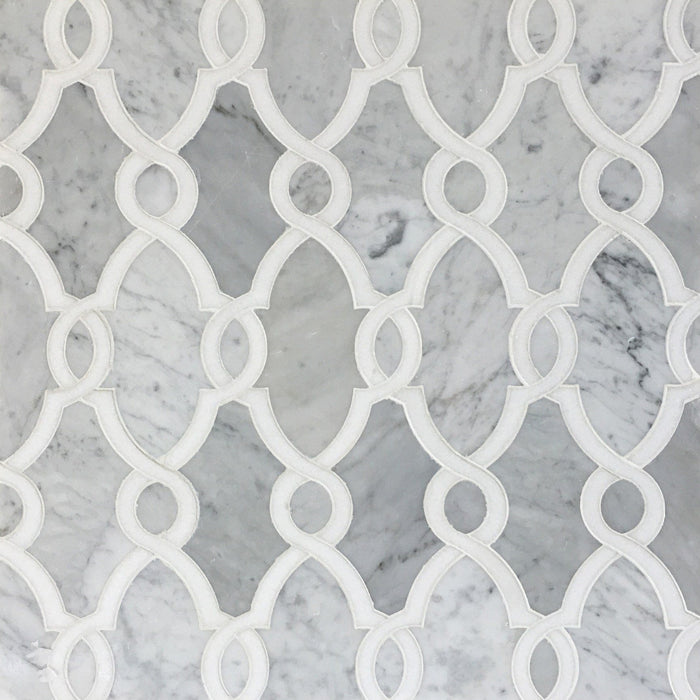Carrara Bianco and White Thassos Marble Waterjet Mosaic Tile in Bellagio - TileBuys
