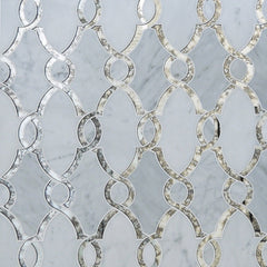 Carrara Bianco Marble and Antique Mirror Glass Waterjet Mosaic Tile in Bellagio - TileBuys