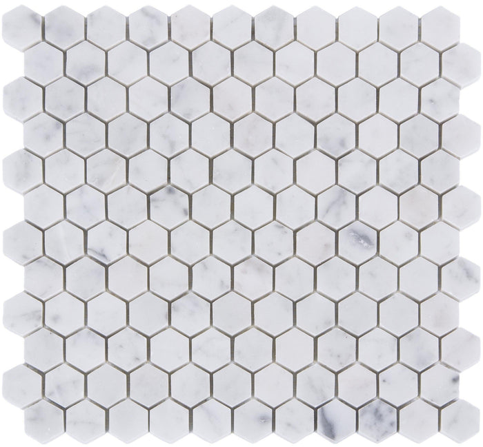 "Carrara Bianco Marble Mosaic Tile - 1"" Hexagons - Polished - TileBuys"