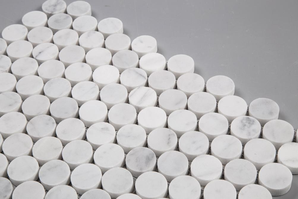"Carrara Bianco Marble Mosaic Tile - 1"" Penny Rounds - Polished - TileBuys"