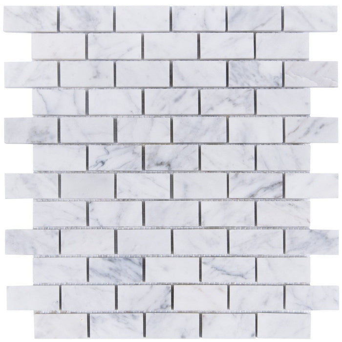 "Carrara Bianco Marble Mosaic Tile - 1x2"" Mini Brick - Polished - TileBuys"