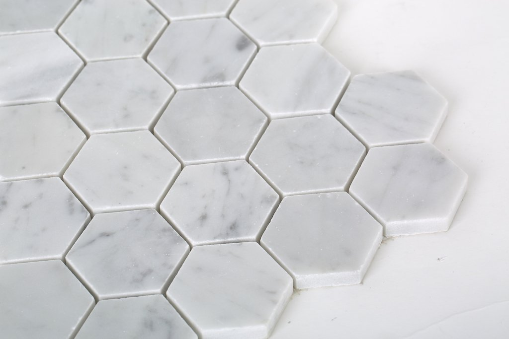 "Carrara Bianco Marble Mosaic Tile - 2"" Hexagons - Polished or Honed - TileBuys"