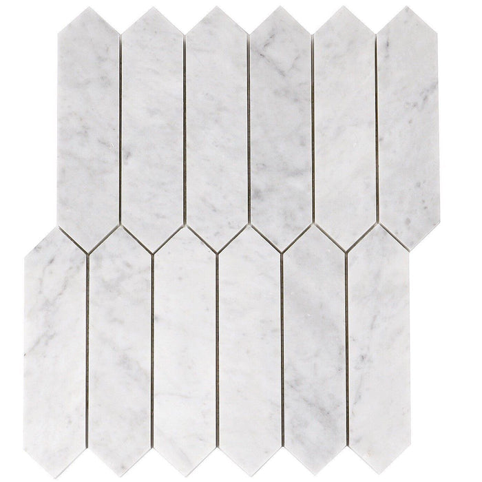 "Carrara Bianco Marble Mosaic Tile - 2x8"" Elongated Hexagons - Polished - TileBuys"