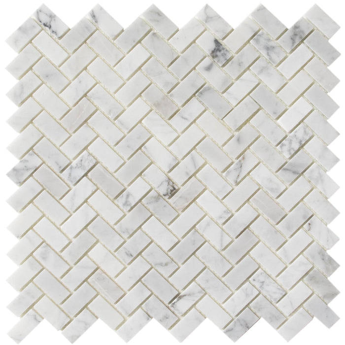 "Carrara Bianco Marble Mosaic Wall Tile - 1x2"" Mini Brick Herringbone - Polished - TileBuys"