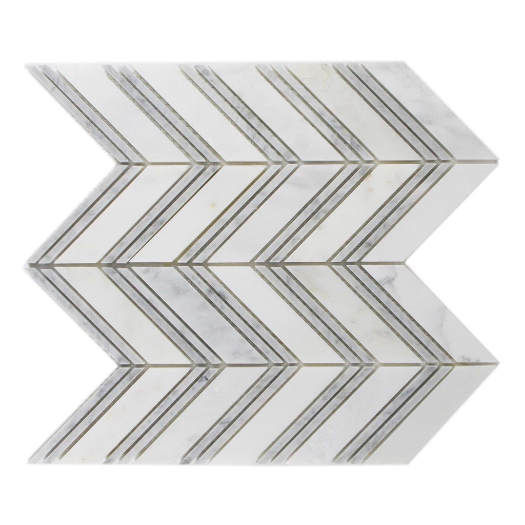 Carrara Blend Marble Mosaic Tile - Chevron - Polished - TileBuys