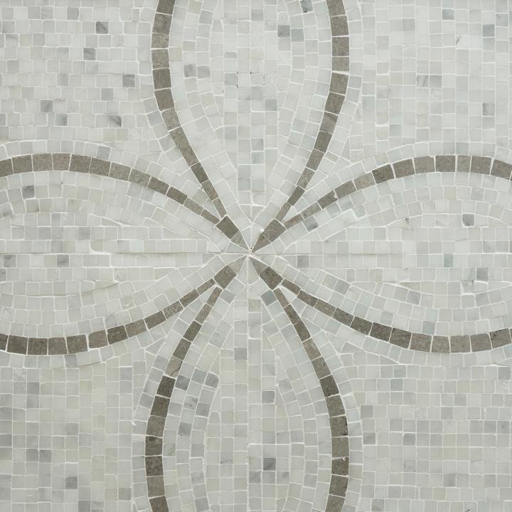 Carrara (Carrera) Venato and Lady Gray Marble Mosaic Tile - Floral Pattern - Polished - TileBuys