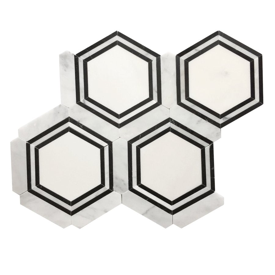 Carrara (Carrera) Venato and Nero Black Marble Waterjet Mosaic Tile in Double Hexagon - TileBuys