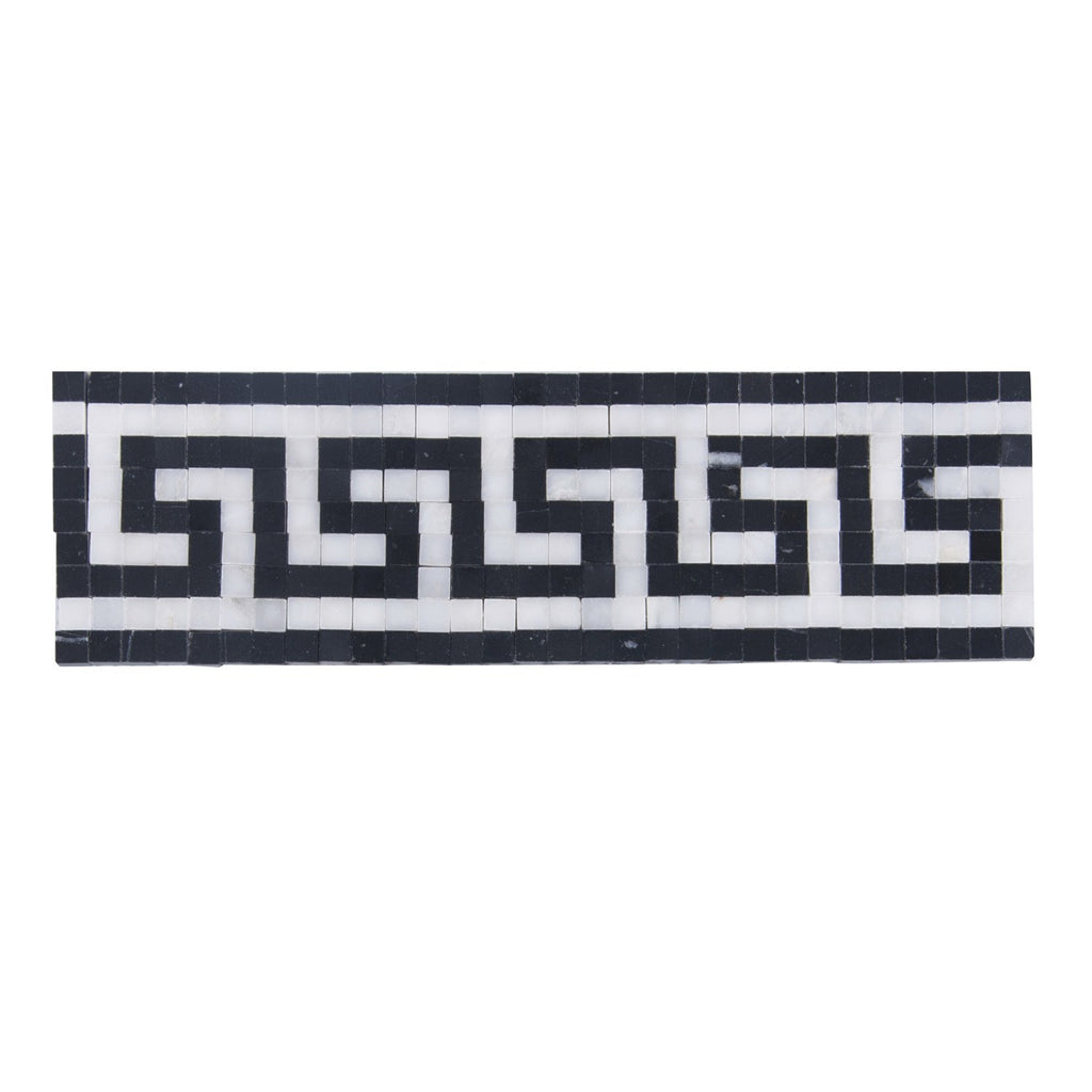 Carrara (Carrera) Venato, Black Marble Border Mosaic Greek Key Polished - TileBuys