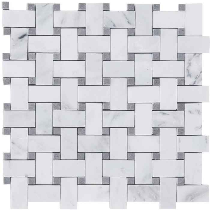"Carrara (Carrera) Venato Marble Mosaic Tile - 1x2"" Basketweave Strips with Lady Gray Marble Accent Squares - Polished - TileBuys"