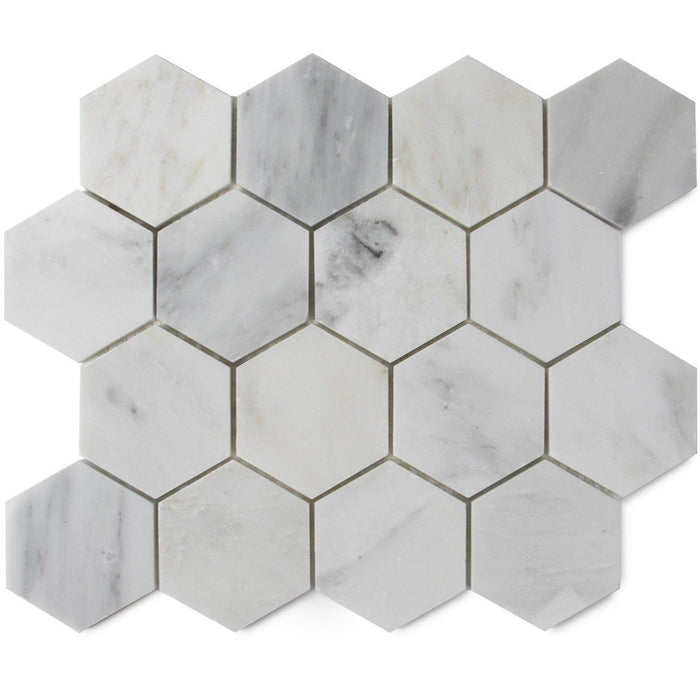 "Carrara (Carrera) Venato Marble Mosaic Tile - 3"" Hexagons - Polished - TileBuys"