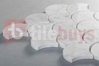 Carrara (Carrera) Venato Marble Mosaic Tile - Fan Shaped Shell Pattern - Polished - TileBuys