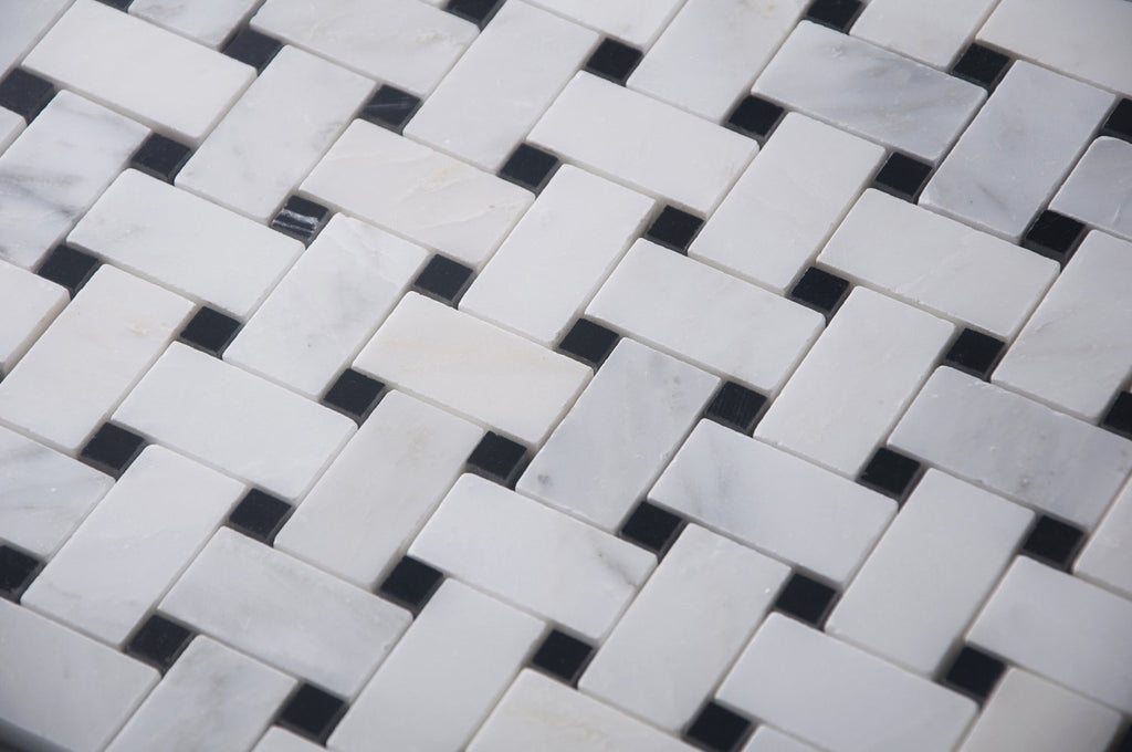 "Carrara (Carrera) Venato Mosaic Tile - 1x2"" Basketweave Strips with Black Marble Accent Squares - Polished - TileBuys"