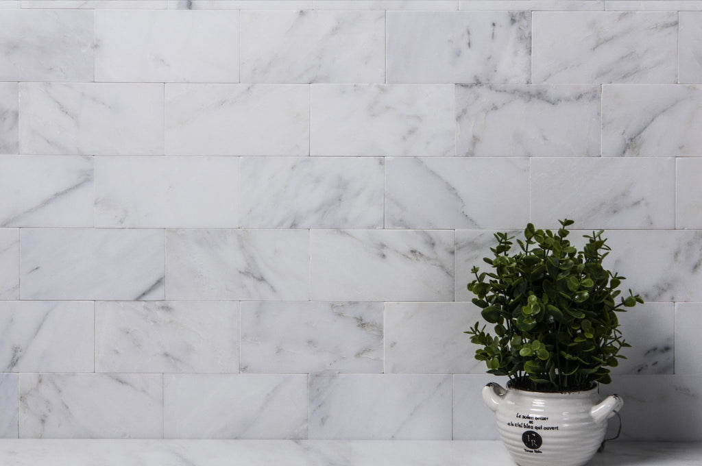 "Carrara Venato Marble 3x6"" Subway Tile - Various Finishes - TileBuys"