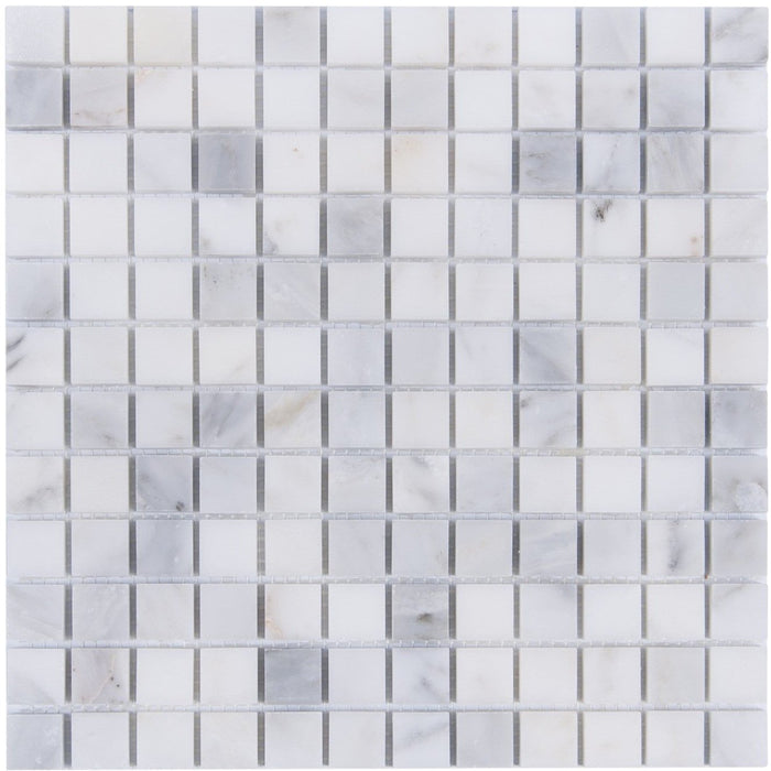 "Carrara Venato Marble Mosaic Tile in 1"" Squares Pattern - Polished or Honed - TileBuys"