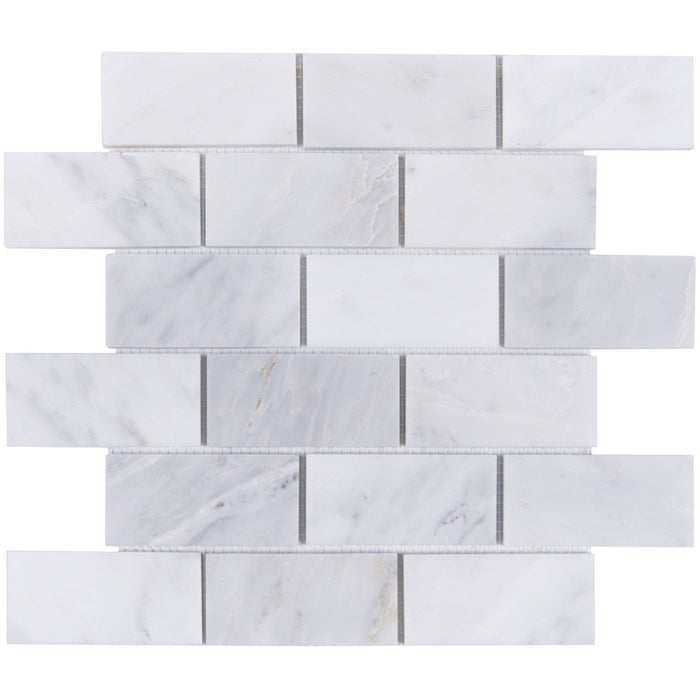 "Carrara Venato Marble Mosaic Tile in 2x4"" Mini Brick Subway Tiles Pattern - Polished or Honed - TileBuys"