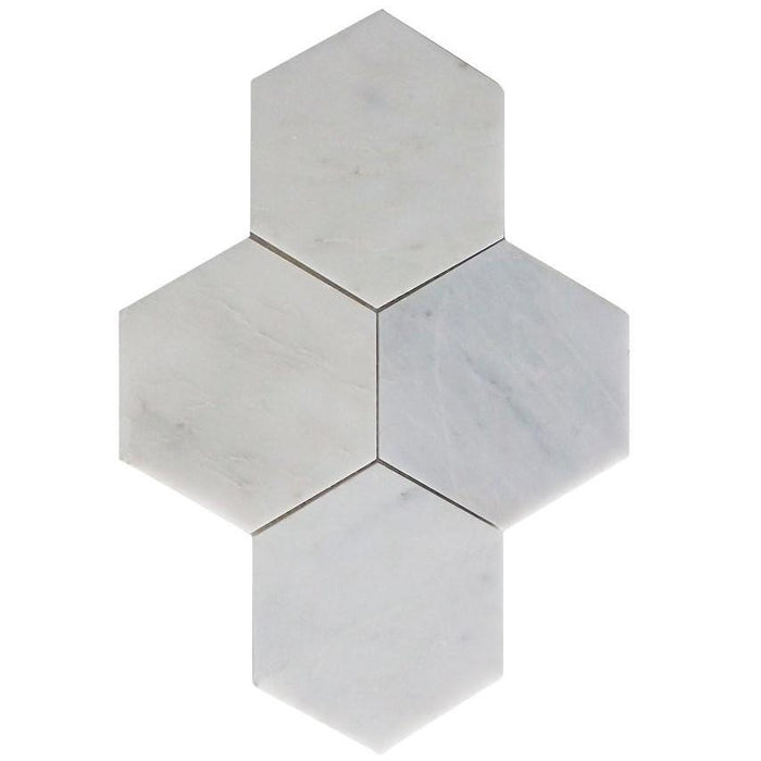 "Carrara Venato Marble Mosaic Tile in 6"" Hexagons Pattern - Polished or Honed - TileBuys"