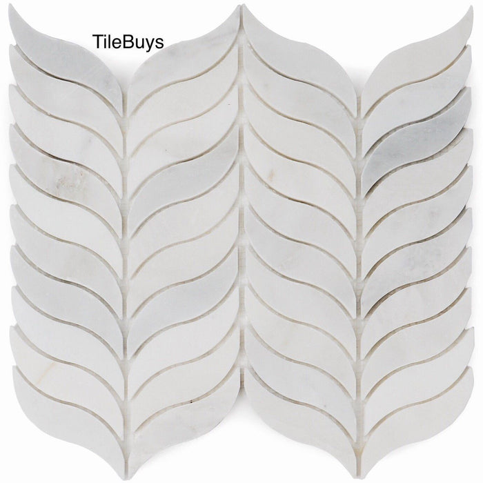Carrara Venato Marble Mosaic Tile in Mindful Grace Wings - TileBuys
