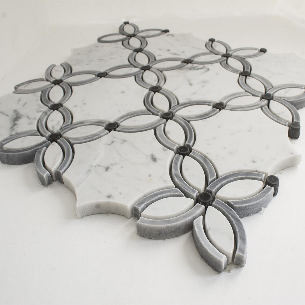 Carrara White and Bardiglio Grey Marble Waterjet Mosaic Tile in Petal Blossoms - TileBuys