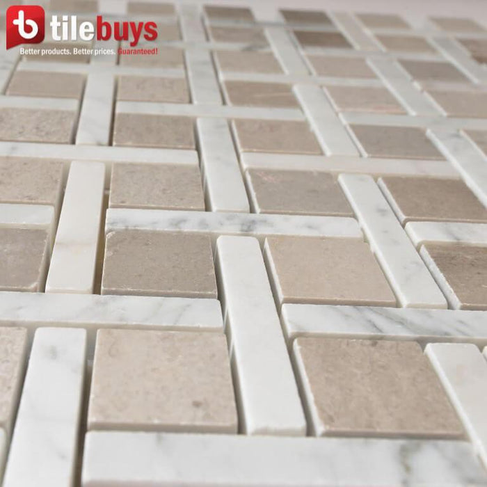 Carrara White and Cinderella Grey Marble Mosaic Tile in Carrero - TileBuys
