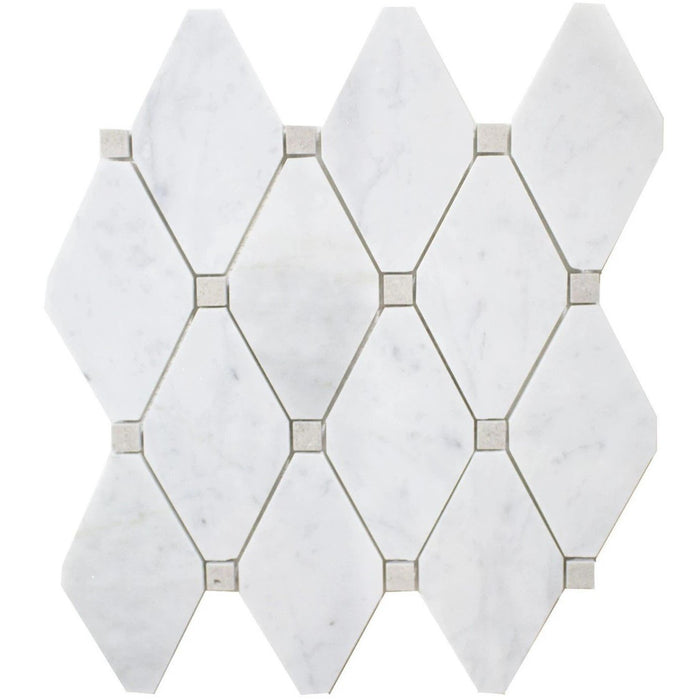 Carrara White and Cinderella Grey Marble Mosaic Tile in White Diamonds - Polished - TileBuys