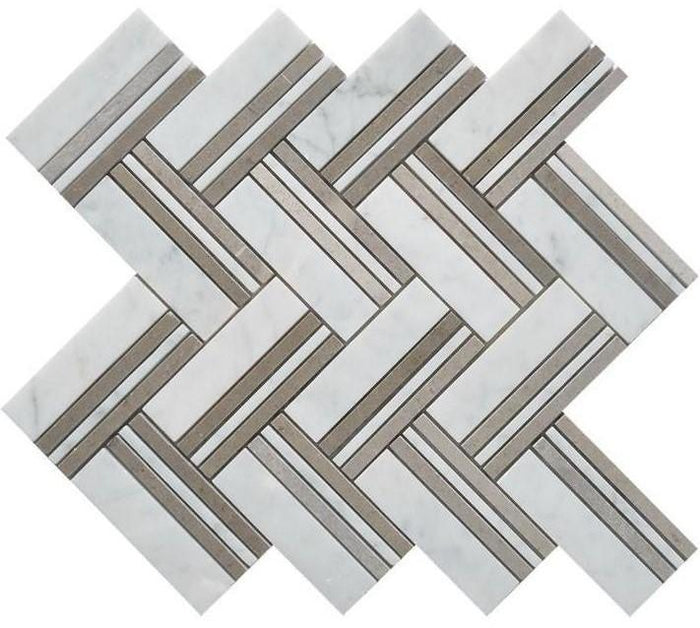 Carrara White and Lady Grey Marble Mosaic Tile in Herringbone Strips Pattern - Polished - TileBuys